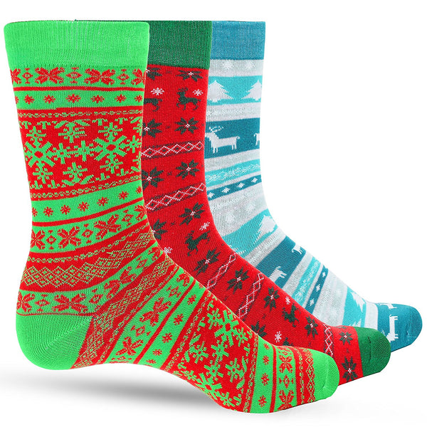 3 Pack Ugly Sweater Men's Christmas Dress Colorful Socks for Men Featuring Multiple Holiday Colors - Galleria Brands