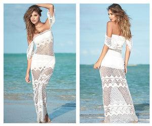 Mapale 4964 Three Piece Long Beach Netting Dress with Top and Skirt
