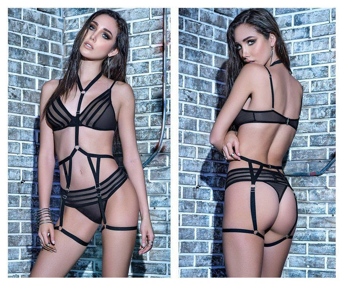 Mapale 2577 Three Piece Garter Straps Lingerie Set