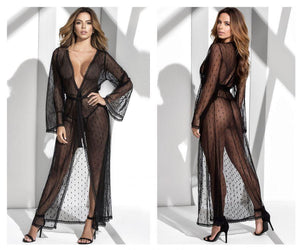Mapale 8379 Long Lace Robe With Matching G-String