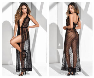 Mapale 8380 Long Lace Robe With Matching G-String