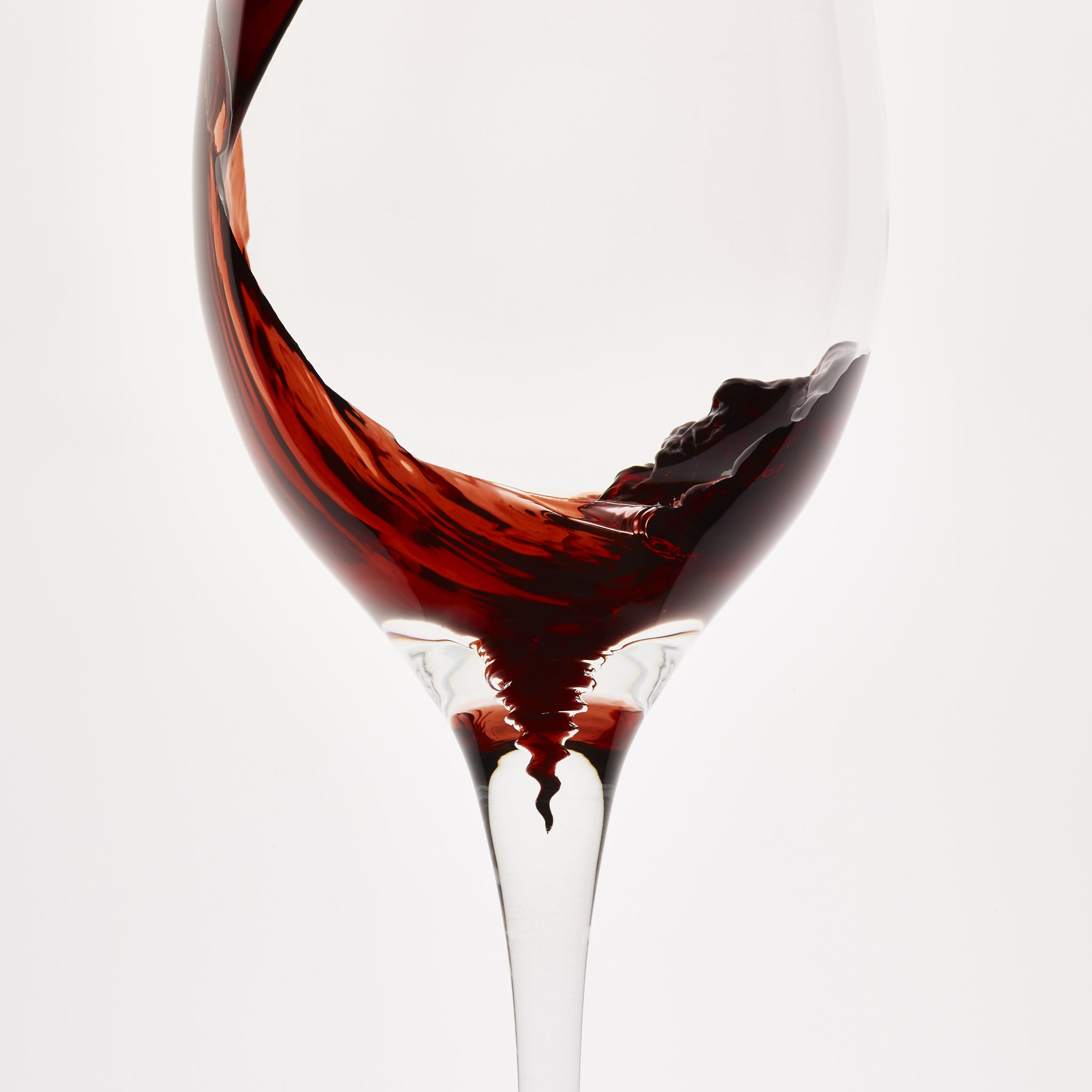 The Spirale Wine Glass catches the sediment in red wine