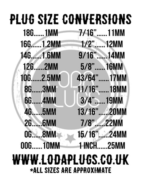 Plug size conversion chart loda plugs
