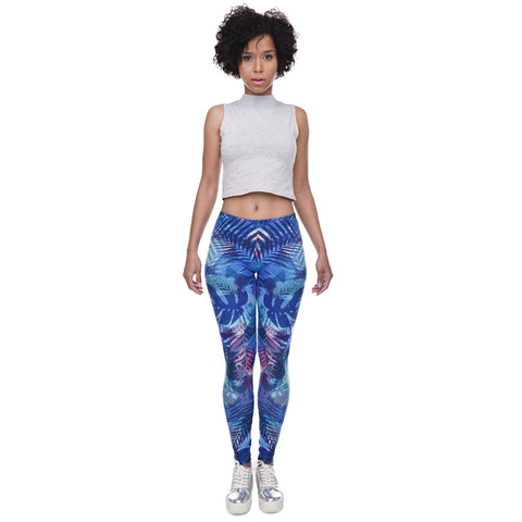 Tropical Leaves Printing Blue