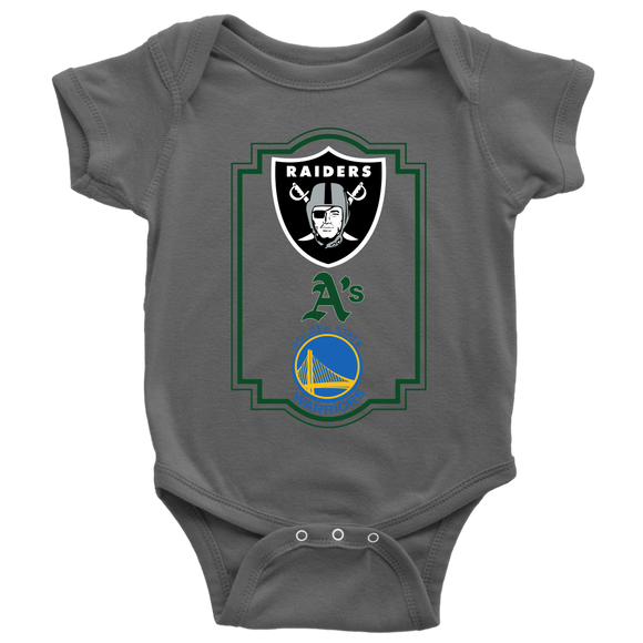 Raiders, A's and Warriors Baby Bodysuit