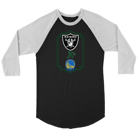 Raiders, A's and Warriors Unisex 3/4 Raglan