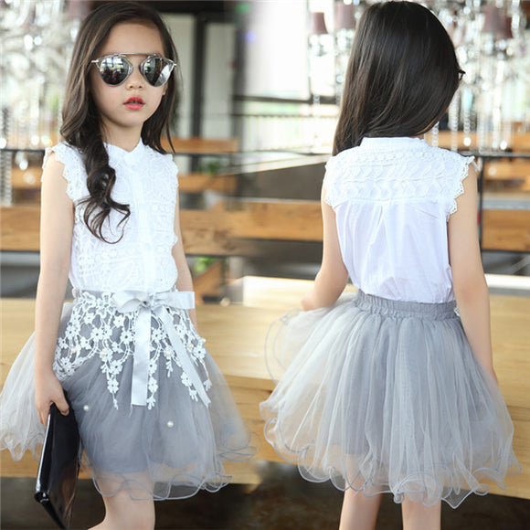 Fashion Girls Clothing Sets  Tops Tees and Lace Skirt