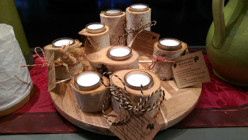Wahwashkesh Woodworks Birch Tealight Holders
