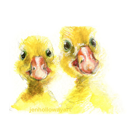 Watercolor, Mixed Media Ducklings, Ducklings Art, Yellow Ducklings Print