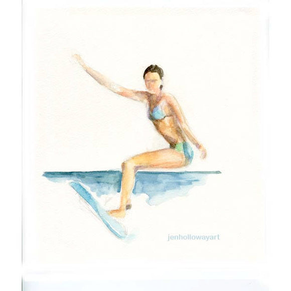 Watercolor Surfing Girl,Surfing Girl Painting,Surfing Girl Print,Surf Art