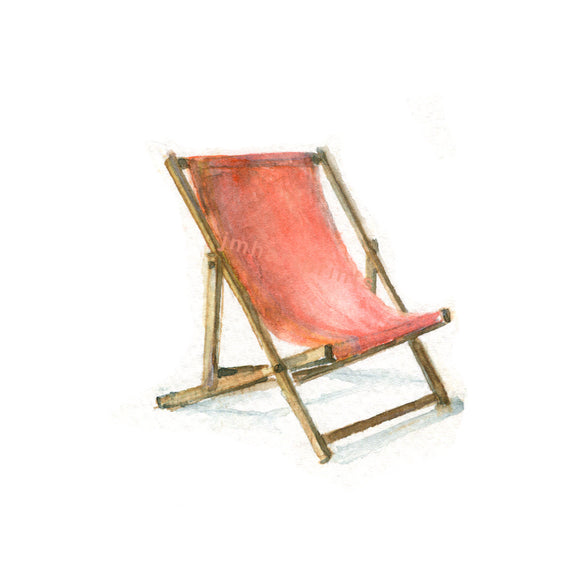 Waterolor Beach Chair, Beach Chair Print