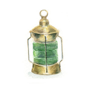 Watercolor Ships Lantern Green, Green Ships Light