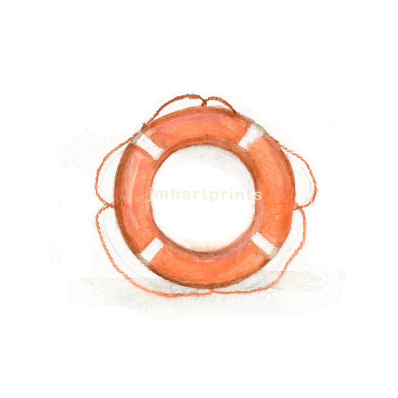 Watercolor Life Ring, Life Ring Print, Orange Life Ring Print