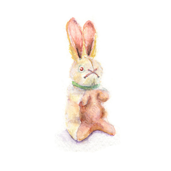 Watercolor Bunny, Stuffed Bunny Print, Toy Bunny Print