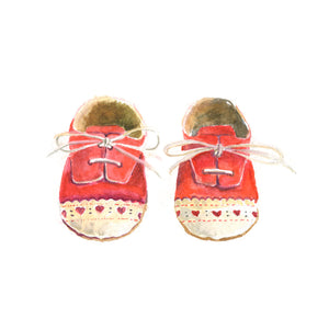 Watercolor Baby Shoes, Red Baby Shoes Print, Baby Shoes Print