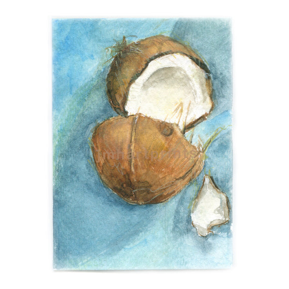Watercolor Coconut, Coconut Print, Cracked Coconut Print