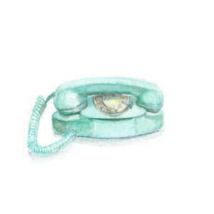 Watercolor Retro Phone, Turquoise Retro Phone Print, Princess Phone Print