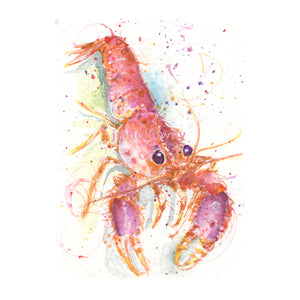 Watercolor Spotted Lobster, Spotted Lobster Print, Reef Lobster Print, Colorful Lobster