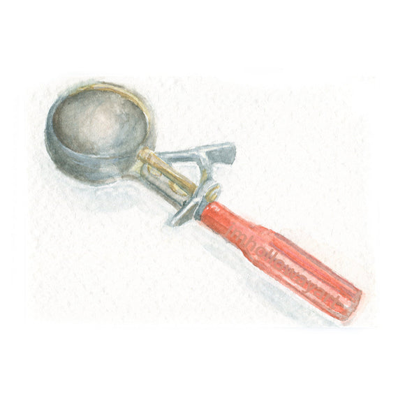 Watercolor Ice Cream Scoop,Ice Cream Scoop Print,Old Ice Cream Scoop
