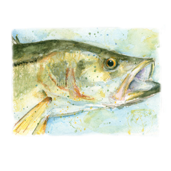 for him, Watercolor Snook, Snook Print, Snook Profile Print, fishing, saltwater fishing art