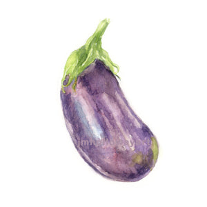 For Kitchen For Garden Watercolor Eggplant, Eggplant Print, Vegetable Print