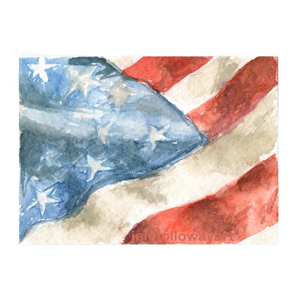 Watercolor Flag, American Flag Print, Flag Print, Flag, Red, White and Blue