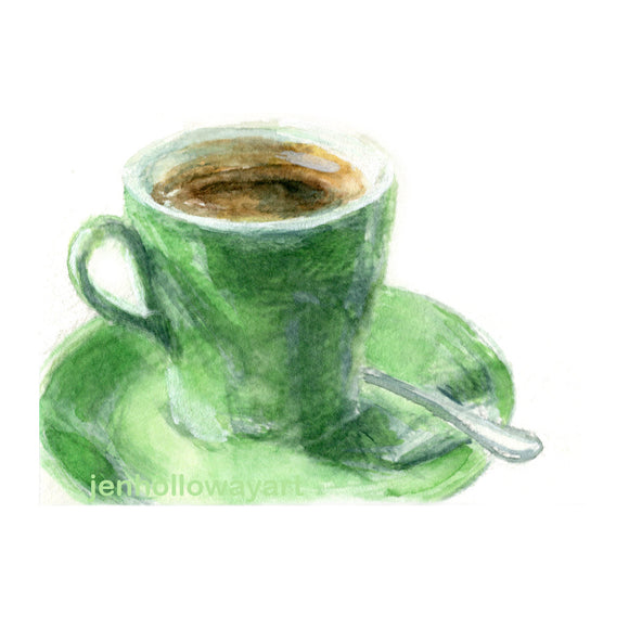 Watercolor Green Cup, Coffee Cup Print, Green Cup Print, Java cup print, Cup of Coffee Print