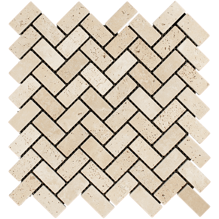 "1x2 Ivory Travertine Mosaic Tile Herringbone - Tumbled Tumbled / 1"" x 2"" - DW TILE & STONE - Atlanta Marble Natural Stone Wholesale Stone Supplier"