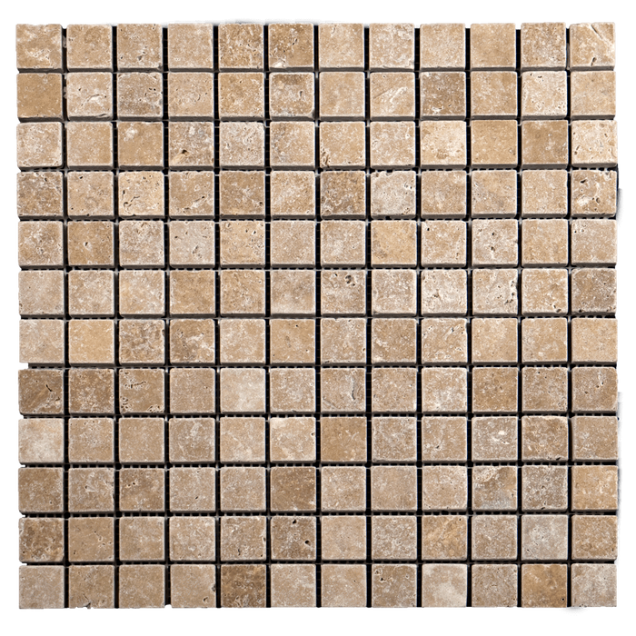 1x1 Noche Travertine Mosaic Tile - Tumbled  - DW TILE & STONE - Atlanta Marble Natural Stone Wholesale Stone Supplier