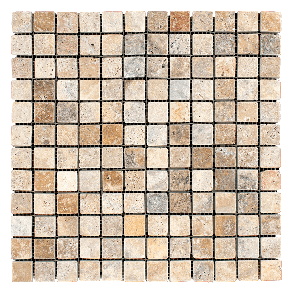 1x1 Scabos Travertine Mosaic Tile - Tumbled  - DW TILE & STONE - Atlanta Marble Natural Stone Wholesale Stone Supplier