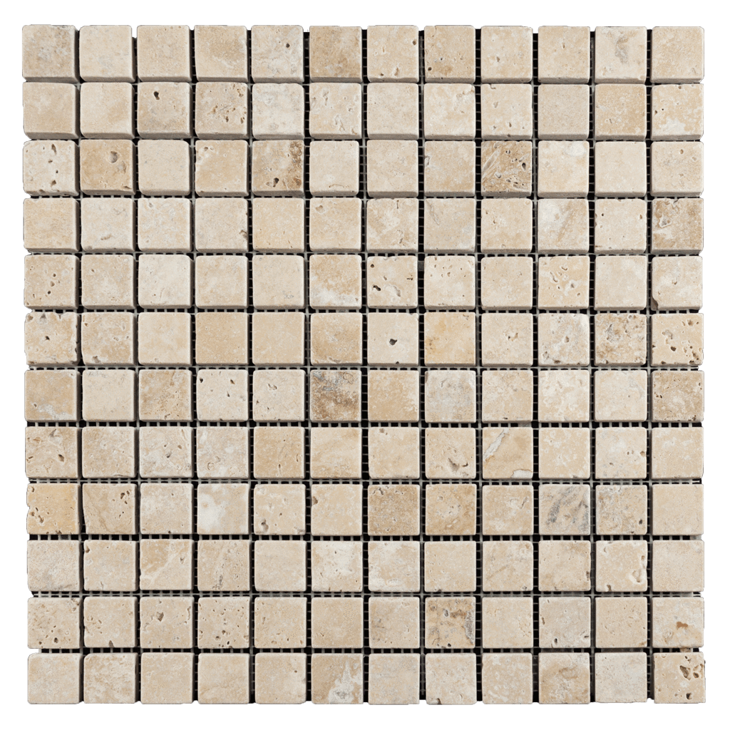 1x1 Walnut Travertine Mosaic Tile - Tumbled  - DW TILE & STONE - Atlanta Marble Natural Stone Wholesale Stone Supplier
