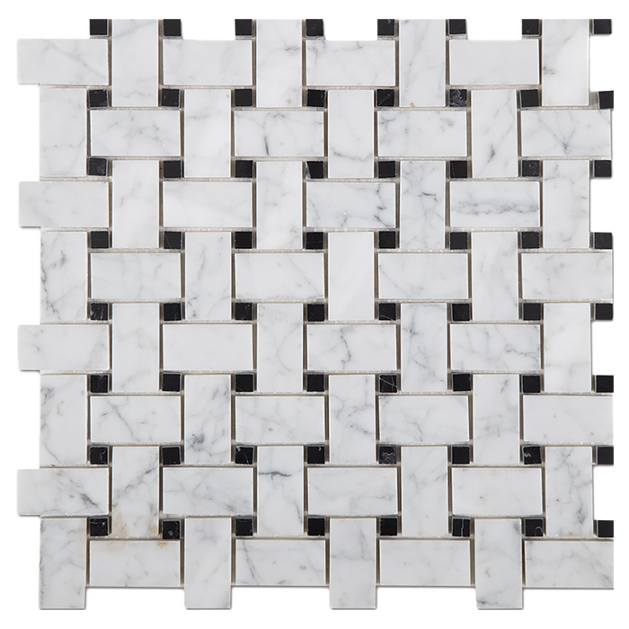 "1x2 Bianco Gioia Marble Mosaic Tile w/Black Basketweave - Polished Polished / 1"" x 2"" - DW TILE & STONE - Atlanta Marble Natural Stone Wholesale Stone Supplier"