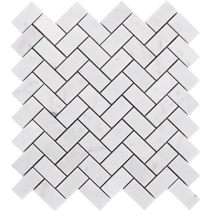 "1x2 Bianco Gioia Marble Mosaic Tile Herringbone - Polished Polished / 1"" x 2"" - DW TILE & STONE - Atlanta Marble Natural Stone Wholesale Stone Supplier"