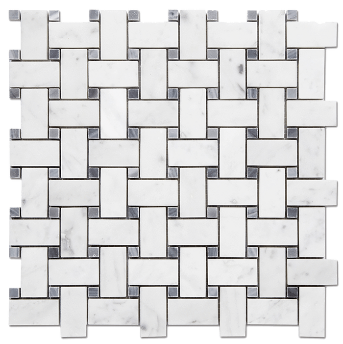 1x2 Bianco Gioia Marble Mosaic Tile w/Grey Basketweave - Polished  - DW TILE & STONE - Atlanta Marble Natural Stone Wholesale Stone Supplier