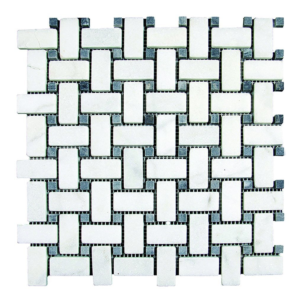 "1x2 Bianco Perla Marble w/Black Basketweave Mosaic - Tumbled Tumbled / 1"" x 2"" - DW TILE & STONE - Atlanta Marble Natural Stone Wholesale Stone Supplier"