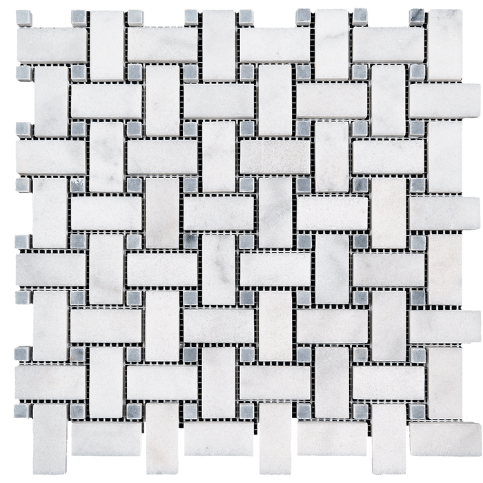 1x2 Bianco Perla Marble w/Grey Basketweave Mosaic - Polished  - DW TILE & STONE - Atlanta Marble Natural Stone Wholesale Stone Supplier