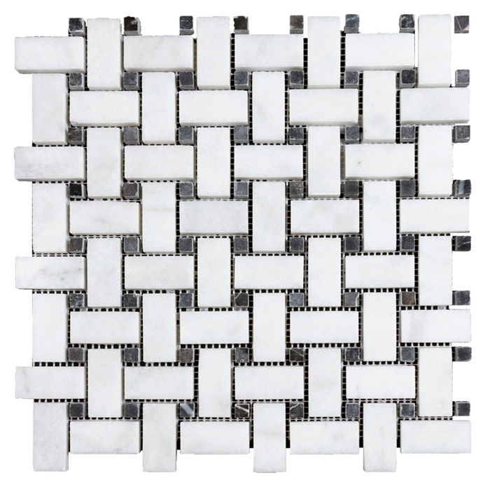 "1x2 Bianco Perla w/Black Marble Basketweave Mosaic - Polished Tumbled / 1"" x 2"" - DW TILE & STONE - Atlanta Marble Natural Stone Wholesale Stone Supplier"