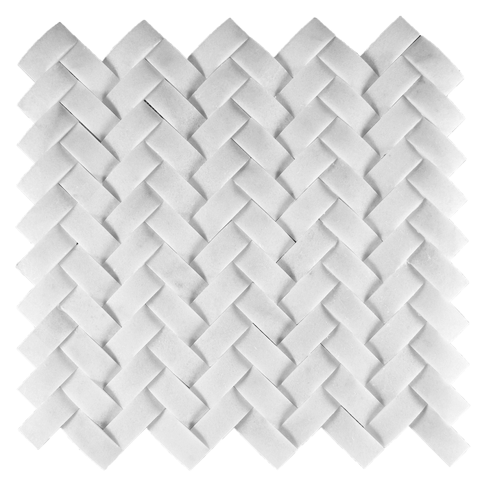 1x2 CAMBERED HERRINGBONE  Bianco Perla Marble Mosaic - Honed  - DW TILE & STONE - Atlanta Marble Natural Stone Wholesale Stone Supplier