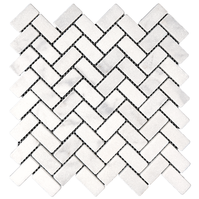 1x2 HERRINGBONE Bianco Perla Marble Mosaic - Tumbled  - DW TILE & STONE - Atlanta Marble Natural Stone Wholesale Stone Supplier