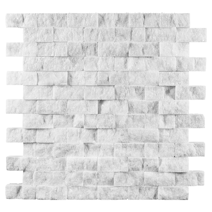 "1x2 Bianco Perla Marble Mosaic - Split Face Split Face / 1"" x 2"" - DW TILE & STONE - Atlanta Marble Natural Stone Wholesale Stone Supplier"
