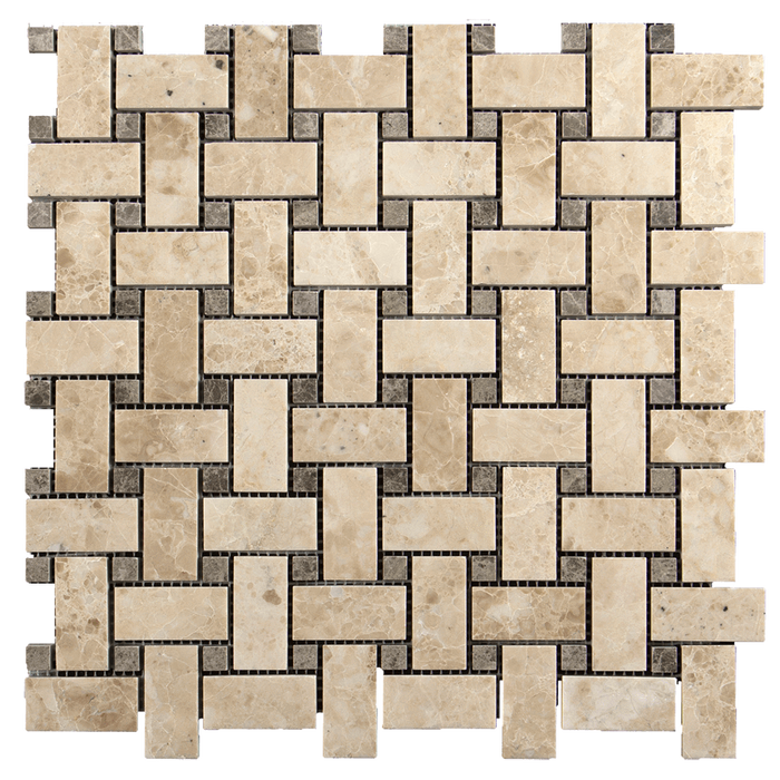 1x2 Cappuccino w/Dark Emperador Marble Mosaic Tile Basketweave - Polished  - DW TILE & STONE - Atlanta Marble Natural Stone Wholesale Stone Supplier