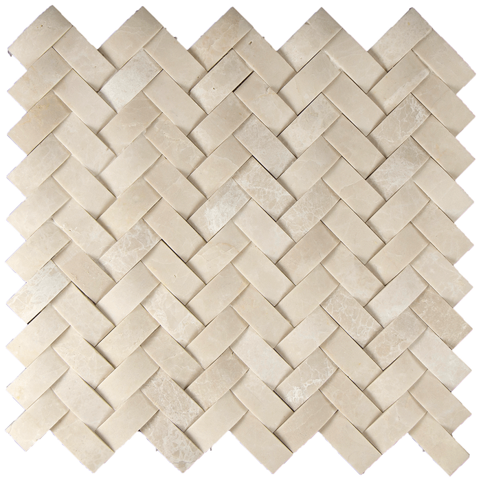 1x2 Crema Nova Marble Mosaic Tile Cambered Herringbone - Honed  - DW TILE & STONE - Atlanta Marble Natural Stone Wholesale Stone Supplier