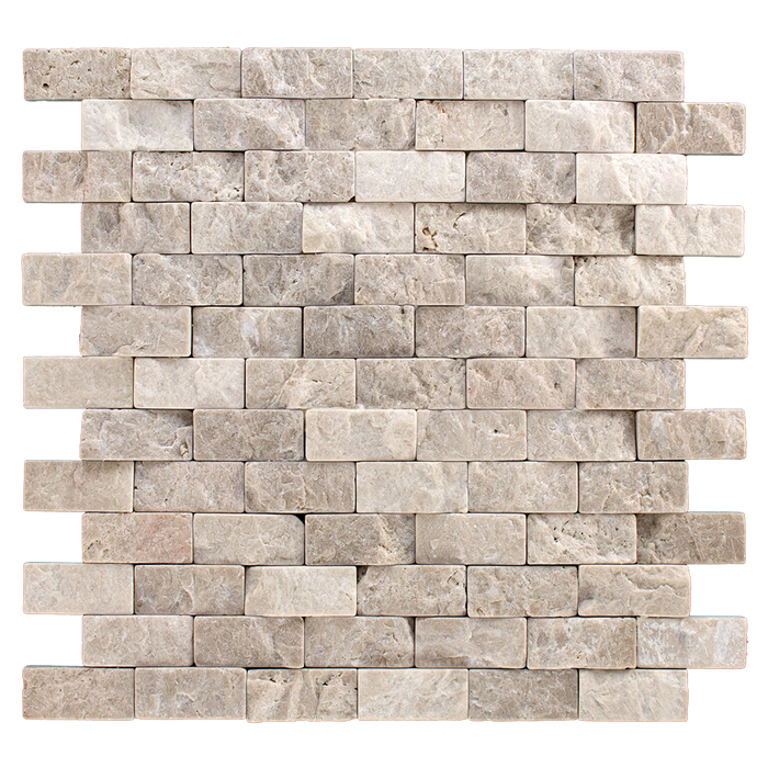 "1x2 Crema Nova Marble Mosaic Tile - Tumbled Split Face Tumbled Split Face / 1"" x 2"" - DW TILE & STONE - Atlanta Marble Natural Stone Wholesale Stone Supplier"
