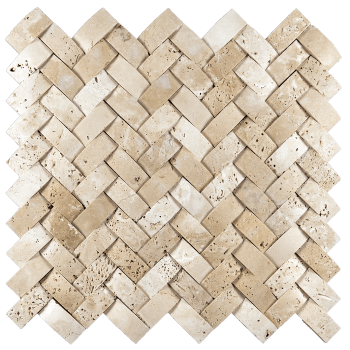 "1x2 Ivory Travertine Mosaic Tile Cambered  Herringbone - Honed Honed / 1"" x 2"" - DW TILE & STONE - Atlanta Marble Natural Stone Wholesale Stone Supplier"