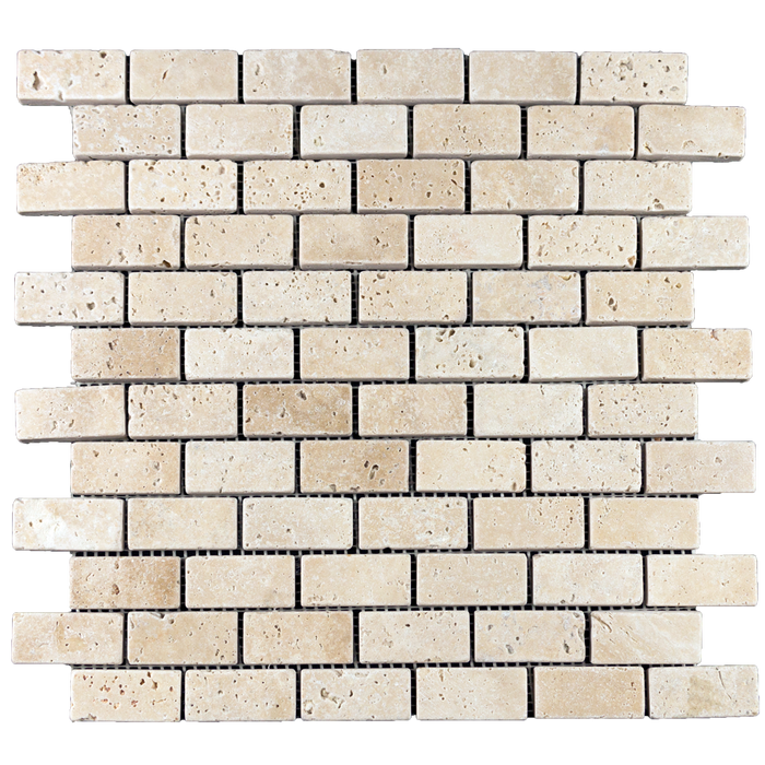 "1x2 Ivory Travertine Mosaic Tile - Tumbled Tumbled / 1"" x 2"" - DW TILE & STONE - Atlanta Marble Natural Stone Wholesale Stone Supplier"