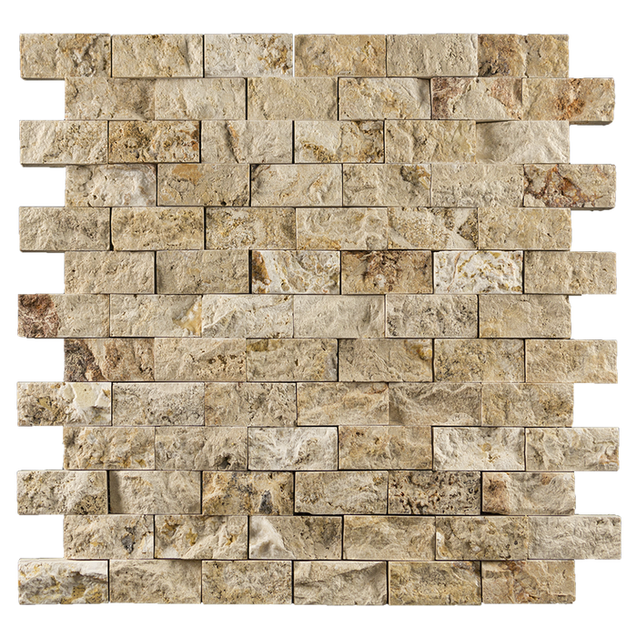 "1x2 Leonardo Travertine Mosaic Tile - Split Face Split Face / 1"" x 2"" - DW TILE & STONE - Atlanta Marble Natural Stone Wholesale Stone Supplier"