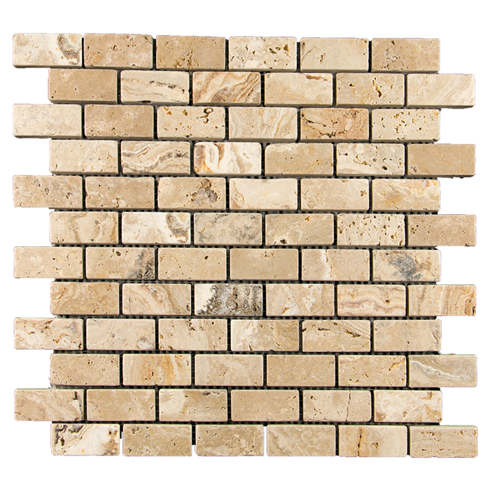 "1x2 Leonardo Travertine Mosaic Tile - Tumbled Tumbled / 1"" x 2"" - DW TILE & STONE - Atlanta Marble Natural Stone Wholesale Stone Supplier"