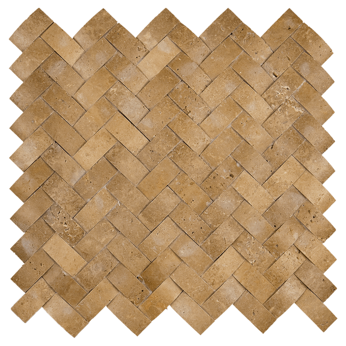 "1x2 Noche Travertine Mosaic Tile Cambered Herringbone - Honed Honed / 1"" x 2"" - DW TILE & STONE - Atlanta Marble Natural Stone Wholesale Stone Supplier"