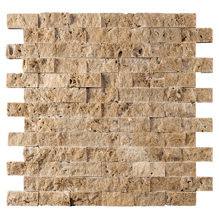 "1x2 Noche Travertine Mosaic Tile - Split Face Split Face / 1"" x 2"" - DW TILE & STONE - Atlanta Marble Natural Stone Wholesale Stone Supplier"