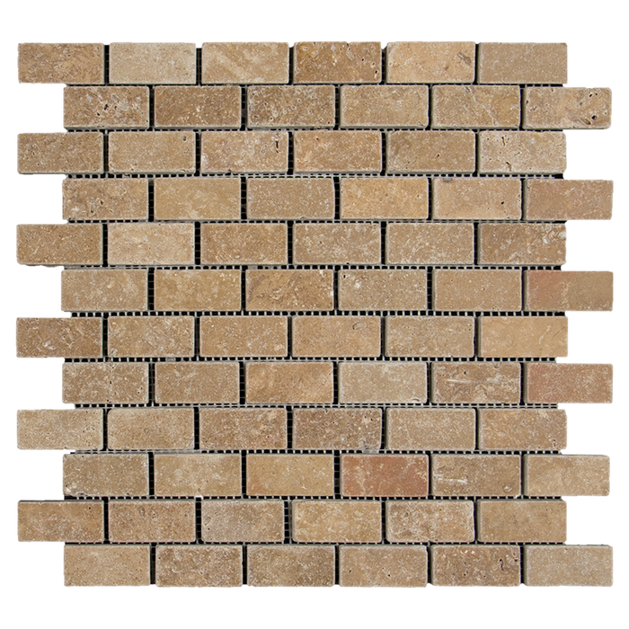 "1x2 Noche Travertine Mosaic Tile - Tumbled Tumbled / 1"" x 2"" - DW TILE & STONE - Atlanta Marble Natural Stone Wholesale Stone Supplier"